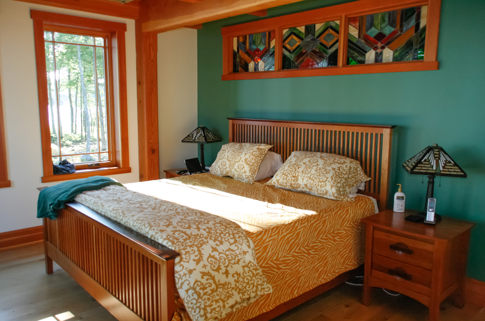 Classic Bensonwood lake house bedroom
